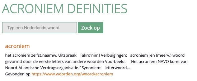 Acroniem | Begrippenlijst